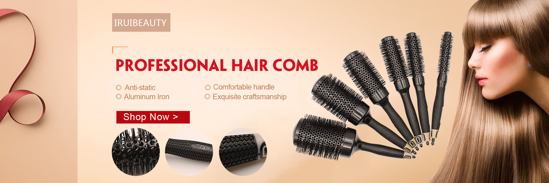 Professional Anti-static aluminum iron round hair brushes